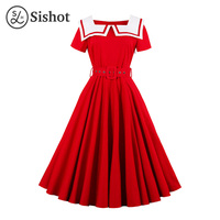 Sishot Women Summer Retro Sashes Knee Length White Solid A Line Party Dress Crew Neck Red