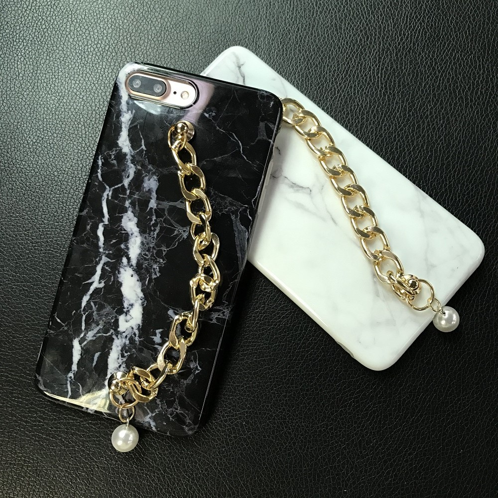 For iPhone 7 7plus Case Marble Bright Inlaid Pearl Bracelet Soft TPU Edge Wrapped Case For iPhone 6 6S 6PLUS 6S PLUS 8 8PLUS