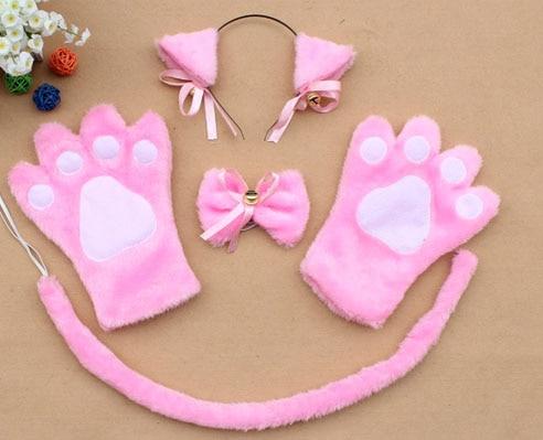 Повязка на голову с ушками neko в виде животных, белого, черного цвета, кота, тигра, аниме, хвоста 60 см, плюшевые перчатки, рождественские, пасхальные, вечерние, для взрослых и детей - Цвет: style 13