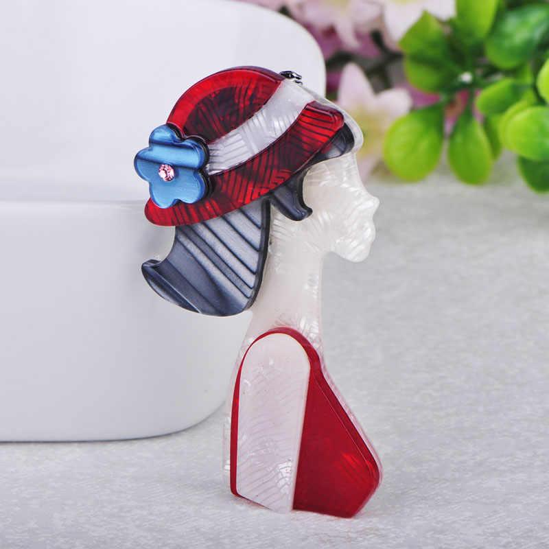 Blucome แฟชั่นสาวหมวกสีแดงรูปร่างเข็มกลัดเนื้ออะคริลิคเข็มกลัดเครื่องประดับสำหรับผู้หญิงชุด Coat ผ้าพันคออุปกรณ์เสริม Pins