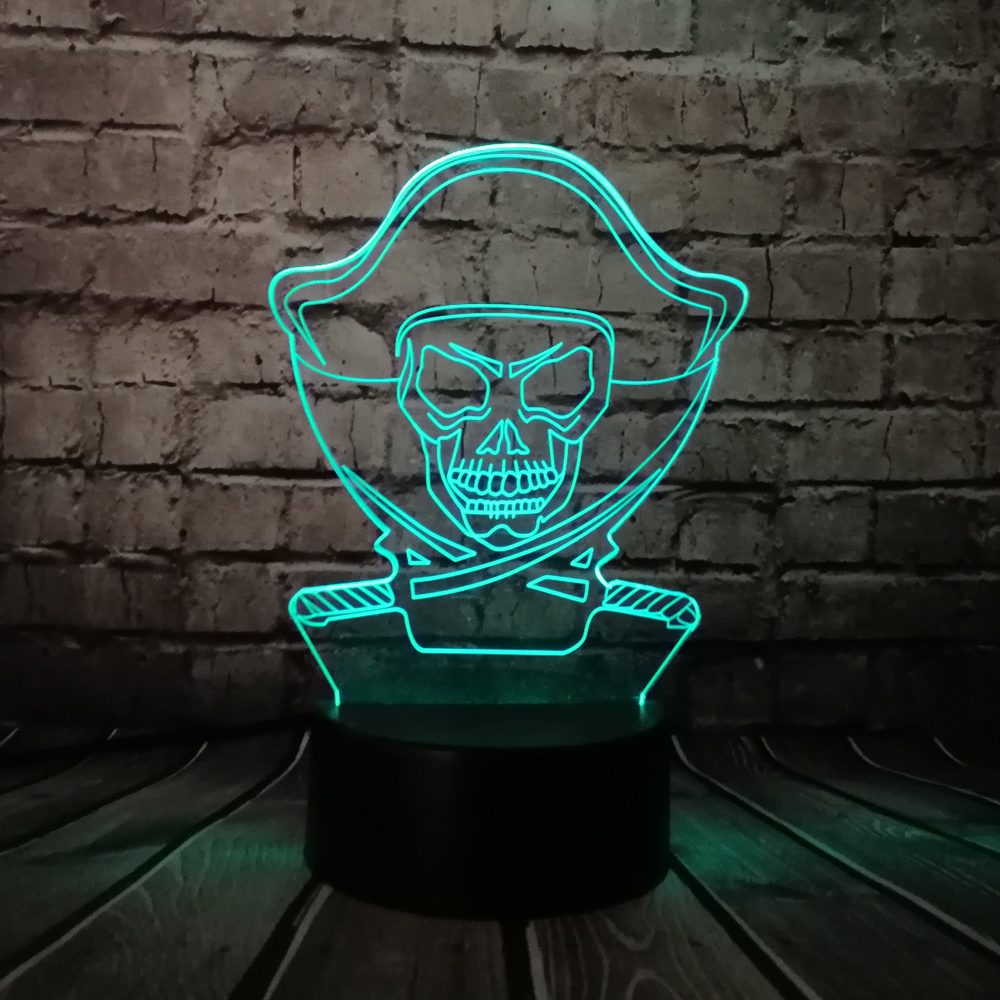 Cartoon Pirates of The Caribbean 3D Lamp USB Multicolor Action Figures Night Light LED RGB Lighting Bulb Luminaria USB Kid Toy