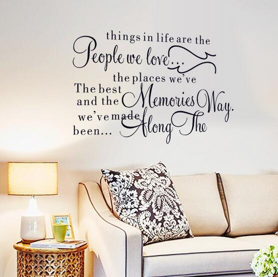 1513932446e5 2016 Life Quote Wall Decal Things in life are the people we love Quotes  Wall Stickers Removable Easy Wall Art Mural40 60cm