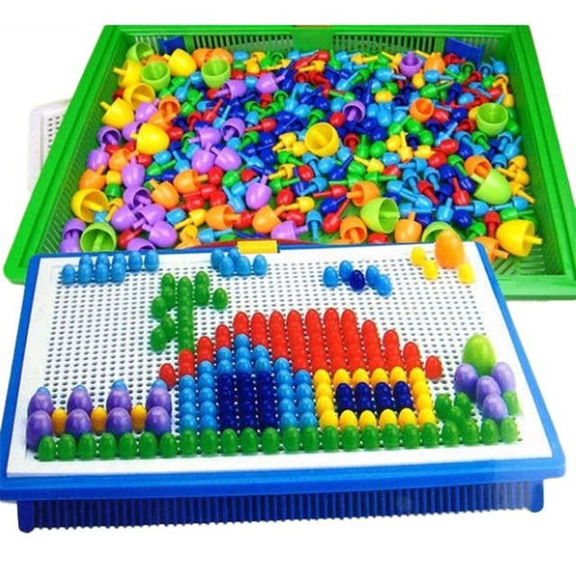 Box Packed Grain Mushroom Nail Beads Intelligent 3D Puzzle Games For Children Plastic Baby Kids