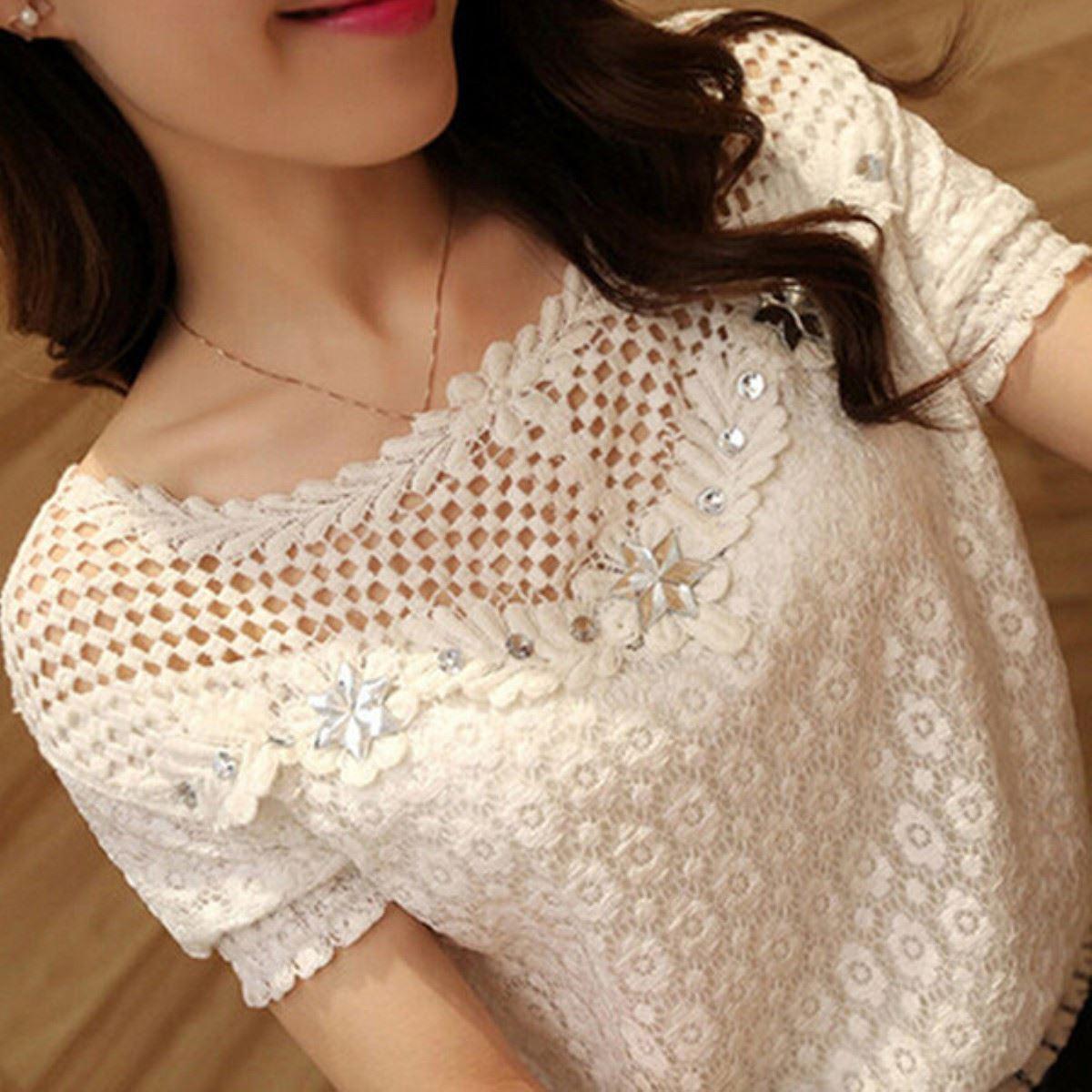 Women Plus Size 6XL Lace Shirt 2017 Summer Autumn Top Beaded Embroidery Neck Short Sleeve Hollow