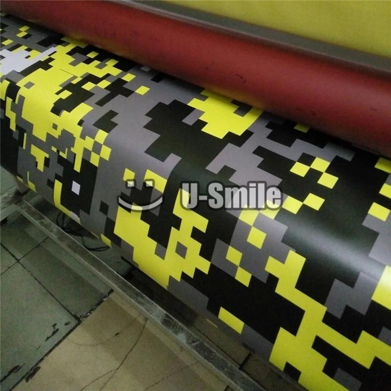 Giallo Digital Camo Pellicola Del Vinile Copriletto Pixel Camouflage Wrap Per Il CAMION SUV Autoadesivo della Bolla di Spedizione Size1.52 * 30 m/ rotolo - 4