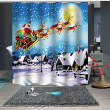 цена на Santa Claus Shower Curtain Sleepy Snowman Waterproof Bathroom Shower Bath Curtain Merry Christmas Decor For Home Customized