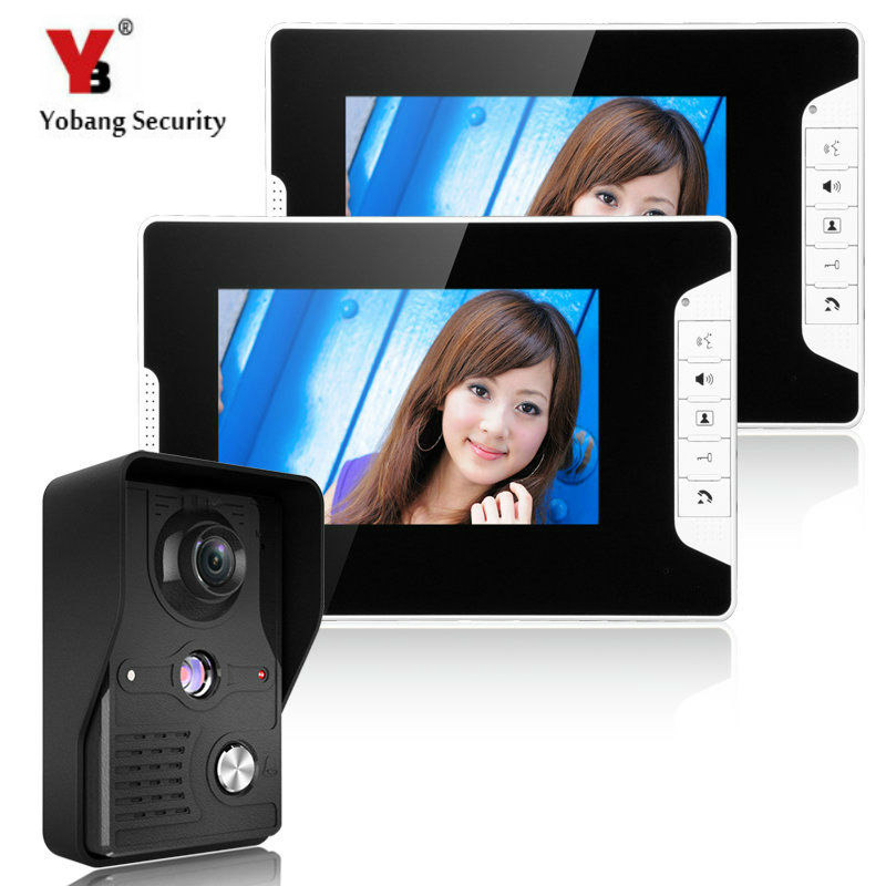 YobangSecurity 7-Inch LCD Video Doorbell Entry Intercom Video Door Phone Camera System Kit With 1 Camera 2 Monitor