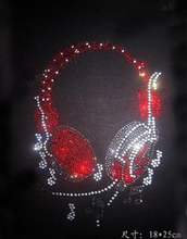Free shipping(2pcs/lot) headset hot fix rhinestones rhinestone motif designs