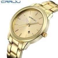 Nowości wysokiej jakości kobiety sukienka zegarek CRRJU luksusowej marki zegarki ze stali nierdzewnej moda Wrist zegarek na prezent męskie zegarki na rękę