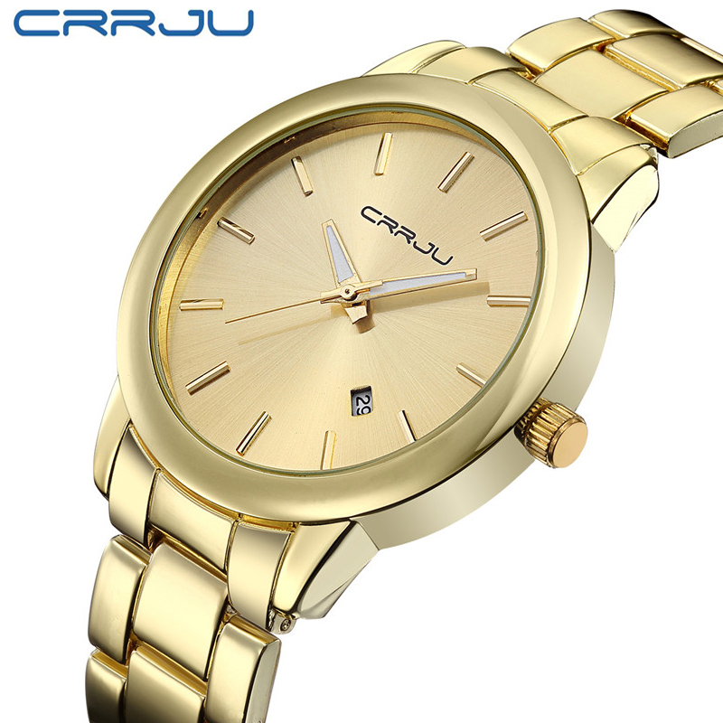 New Arrivals High Quality Women Dress Watch CRRJU Luxury Brand Stainless Steel Watches Fashion Wrist Gift Watch Men Wristwatches