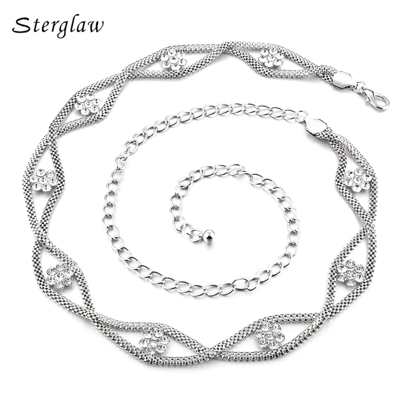 Hot Sales Plum Waist Chain Belts For Women On The Body Clothing 2020 European Fashion Metal Rhinestone Bridal Female Belt F022