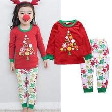 Christmas Toddler Baby Girls Boys Xmas Tree Sleepwear Nightwear Kids Pajamas Set 1-6Y