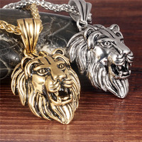 Mdiger Brand New Men S Lion Design Pendant Necklaces Stainless Steel Animal Necklace Men Accessories Necklaces