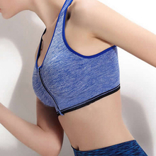 New Women Yoga Bra Zipper Front Push Up Sports Bra Seamless Underwear Crop Top Gym Fitness