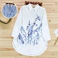 Médio-longo-manga longa camisa primavera tendência nacional de tinta de pequeno fresco top bonito camisa solta feminino
