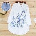 Medio-largo de manga larga camisa de primavera tinta fresca pequeña tendencia nacional superior linda camisa floja femenina
