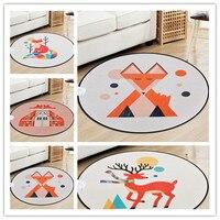 Schöne Bunte Fuchs Baby Runde Teppich Für Kind Wohnzimmer Cartoon weiche Teppiche Schlafzimmer Bodenmatte Teppich Kinderzimmer Nette Decor Teppiche