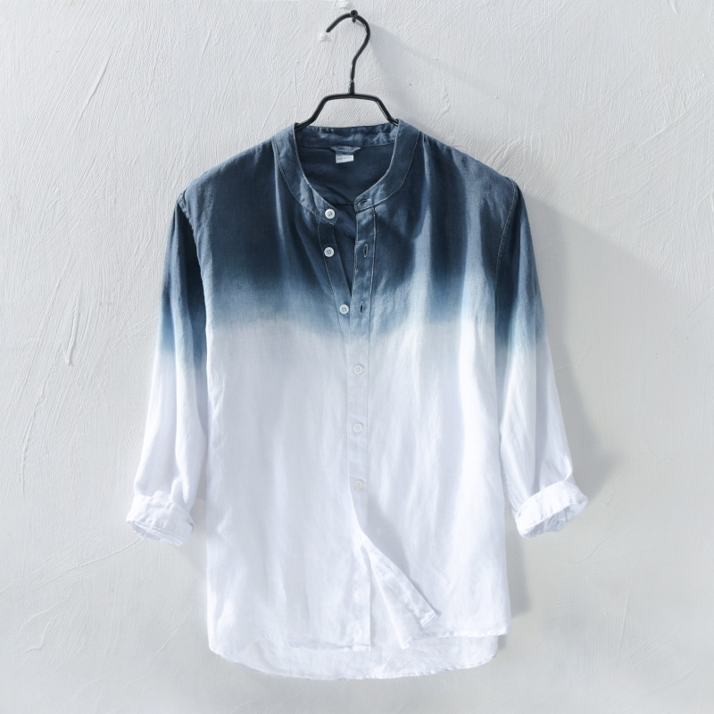Mens Linen Shirt Men Gradient Shirts New Spring Fashion Chemise Homme Mens Blouse Shirts Long Sleeve Slim Fit Shirt Men Blouse