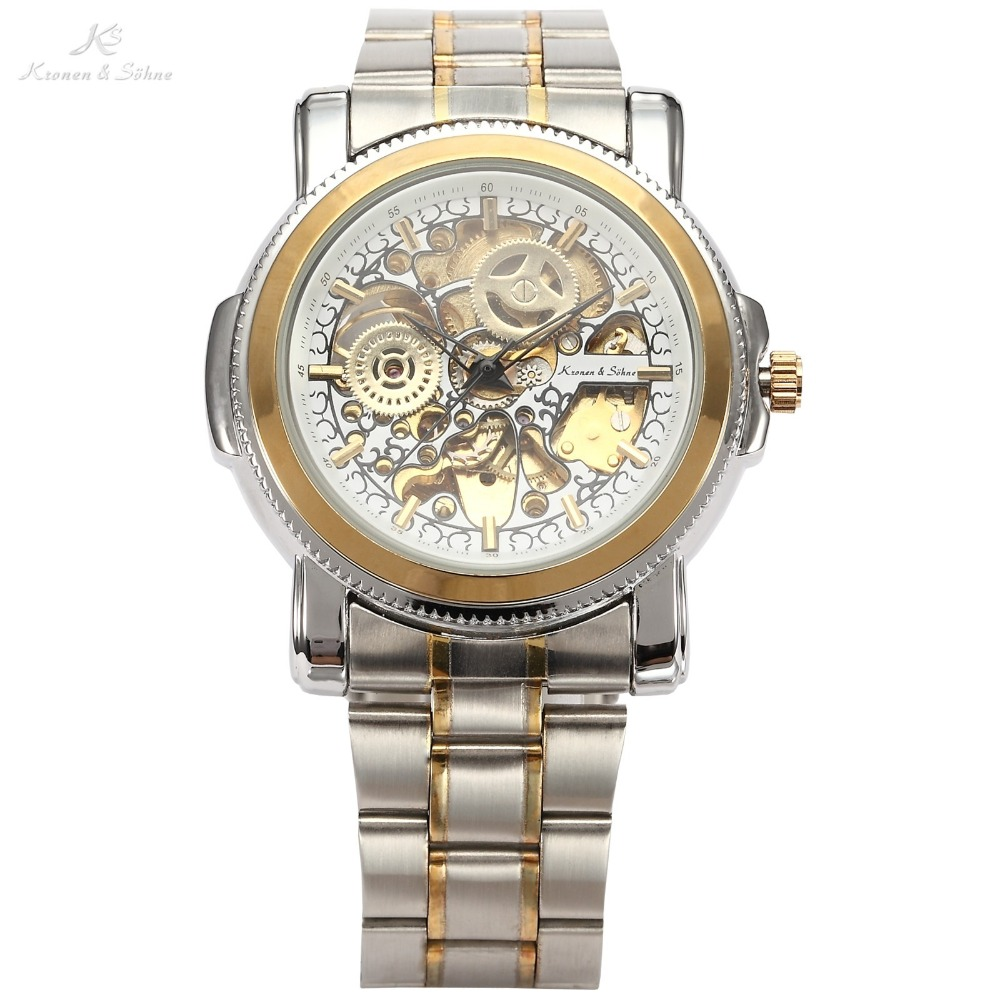 Luxury KS Royal Carving Skeleton Steampunk Automatic Golden Stainless Full Steel Mechanical Dress Mens Mechanical Watch / KS137