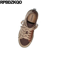 Designer Trainers Retro Canvas Shoes Gingham Cloth Plaid Women Brown Sneakers Flats Breathable Harajuku Ladies Chinese Lace Up