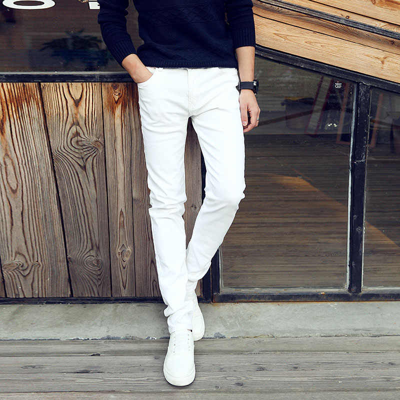 Pantalones Vaqueros Elasticos Blancos Para Hombre Jeans De Negocios Informales Para Jovenes De Alta Calidad A La Moda 2020 Pantalones Vaqueros Aliexpress