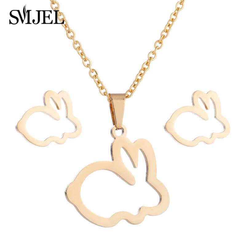 SMJEL belle lapin en acier inoxydable collier lapin chat couronne pendentifs colliers femmes enfants mode minimaliste boucles d'oreilles bijoux