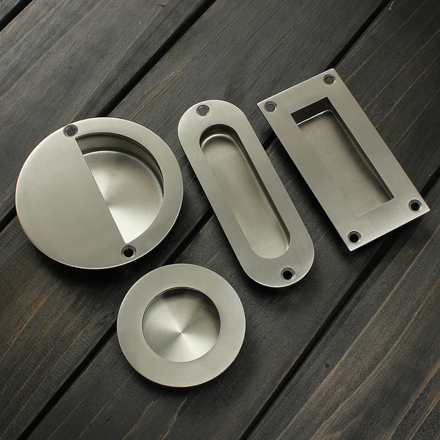 Hot Stainless Steel Door Handle Flush Recessed Pull Circular Oval Rectangular Hardware Drawer For Home Tools