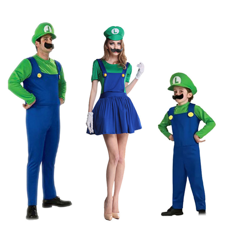 Halloween Super Mario Costume Louis Clothes Party Cosplay Parent-child Performance