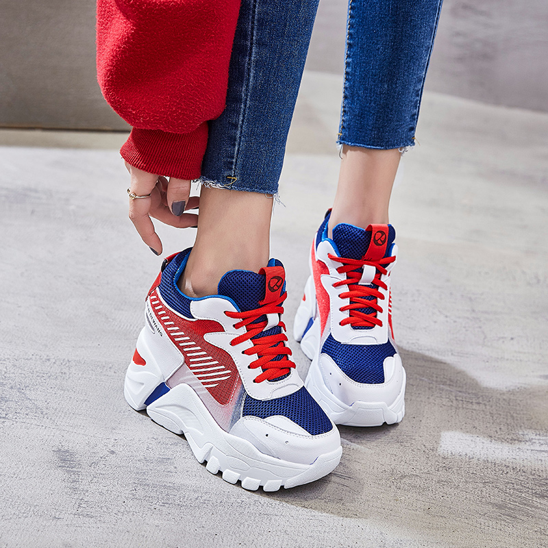SWYIYV femmes chaussures rouge plate-forme baskets 2019 nouvelle femme Chunky Wedge chaussures décontractées pour femme baskets Hided talons chaussures femmes