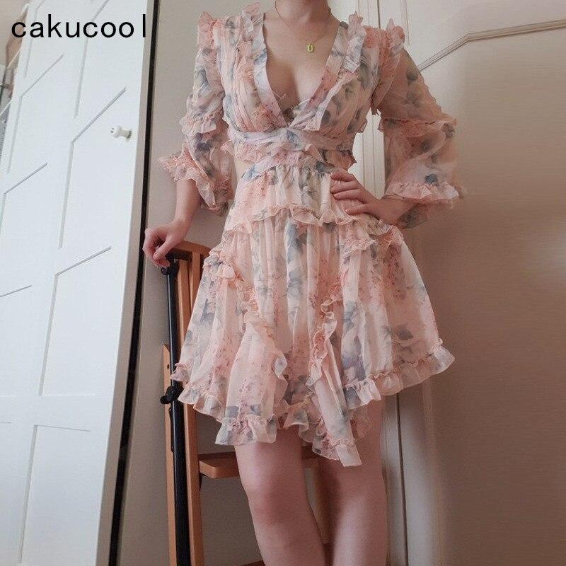 Cakucool nouvelle robe chemisier à manches longues femmes vêtements Slim panneau décontracté blanc col en V profond plissé asymétrique corée Design robes