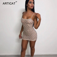 Articat Elegant Sequined Party Dresses Women 2017 Autumn Strapless Backless Short Mini Dress Sexy Club Bodycon