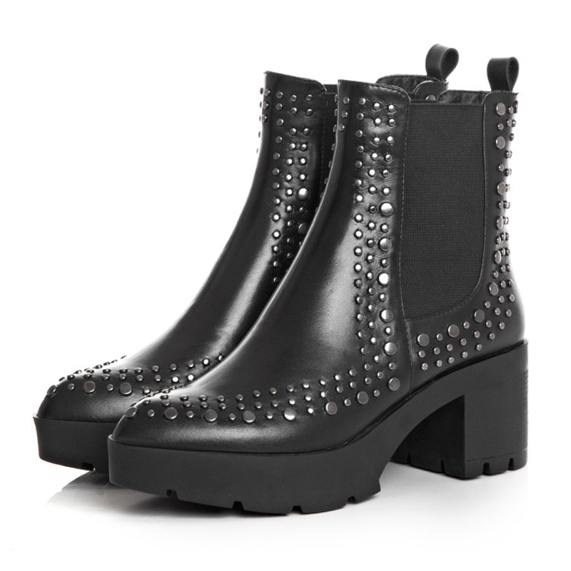 ФОТО Plus Size Womens Black Genuine Leather Rivets Pointed Toe Cuban Ankle Boots Chelsea Boots Elastic Boot knight Shoes US4-9