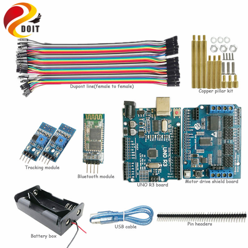 DOIT 1 set Bluetooth Control for Smart Car Chassis with Arduino UNO R3 board, Motor Drive Shield Board, Tracking Module