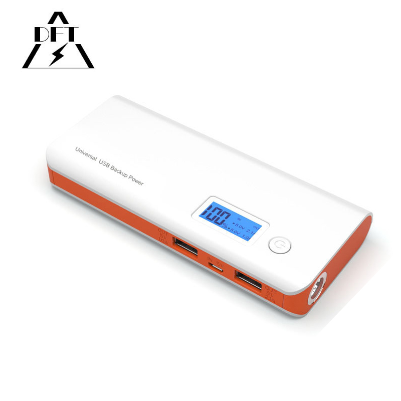 Dual USB Charging 20000 MAh Portable Power bank External Battery Charger With LCD Screen Torch Accurate Display for xiaomi HTC