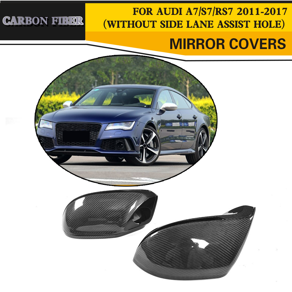 Carbon Mirror Cover Replacement For AUDI A7 S7 RS7 11-17Without Side Lane Assist