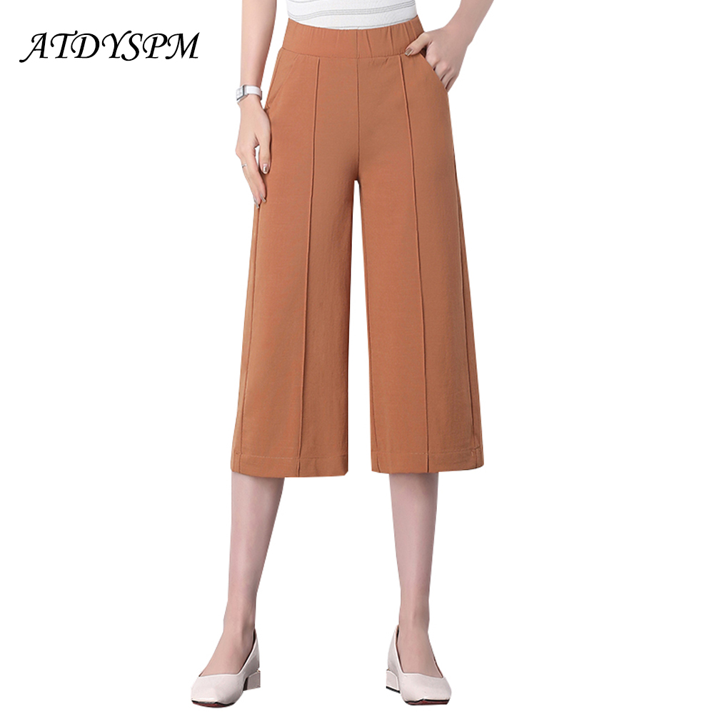 New Summer Cotton Linen   Pants   for Women Elastic Waist Loose Casual Wide Leg   Pants     Capris   Female Elegant Office OL   Pants