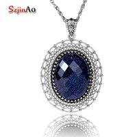 Szjinao ángulo 31ct gran cristal colgante moda mujeres joya azul arena Collares y colgantes retro plata 925 joyería alrededor del Masajeadores de cuello