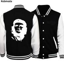 Che Guevara hero New Men/Boy Baseball Jacket Men 2018 Fashion Design black Mens Slim Fit College Varsity Jacket Men Brand Homme animal 3d print varsity stripe trim zippered men s jacket