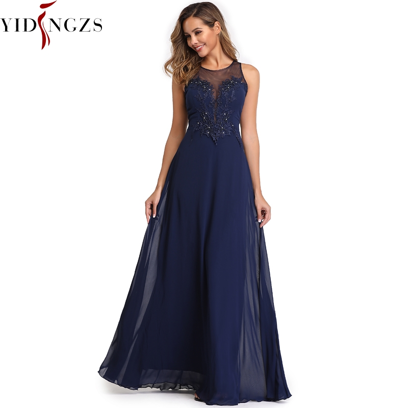 YIDINGZS Elegant Chiffon Formal Evening Dress See-through Appliques Beading Long Party Dress Robe De Soiree 2019