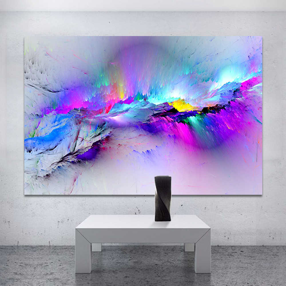 QKART Oil Painting Wall Pictures For Living Room Home Decor Abstract Clouds Colorful Canvas Art Home Decor No Frame Posters