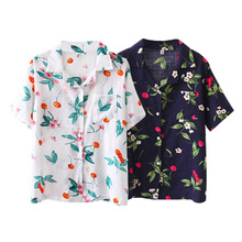 Women Short Sleeve Blouses Work Office Shirts Casual Tops Leaf Print Shirt Chiffon