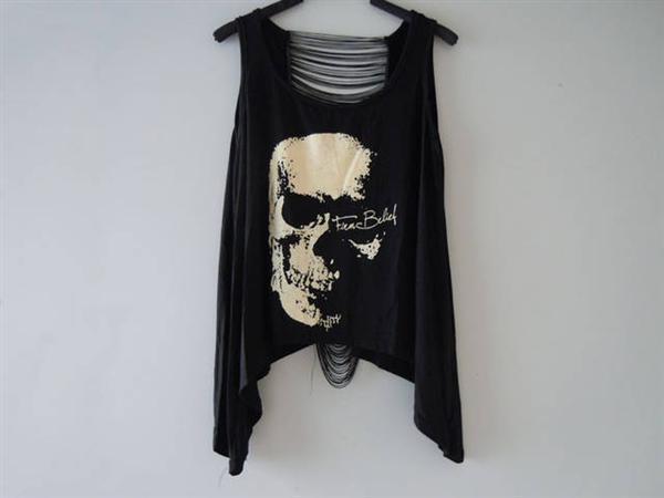 Camiseta sin mangas para mujer, blusa regata, corpiño para mujer, brandy melville, calado, Camiseta estampada con Calavera, chaleco de encaje para mujer F390 4