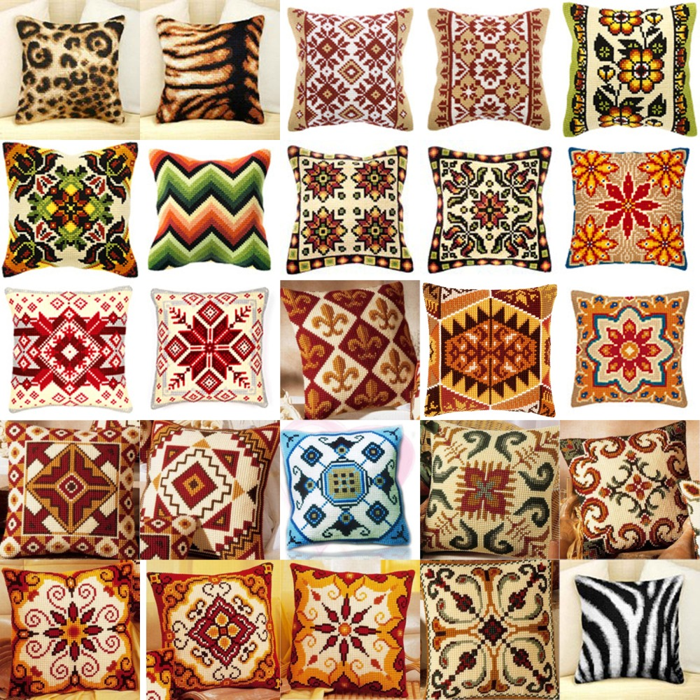 DIY Needlework Kit Unfinished Acrylic Yarn Embroidery Pillow Tapestry Canvas Cushion Front Cross Stitch Pillowcase Flowers style