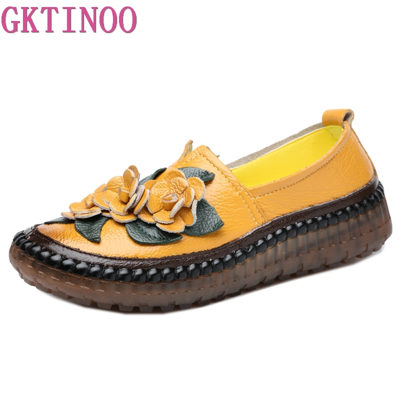 GKTINOO Retro Style Handmade Genuine Leather Loafers Shoes Women Spring Round Toe Appliques Soft Slip-On Casual Lady Flat Shoes