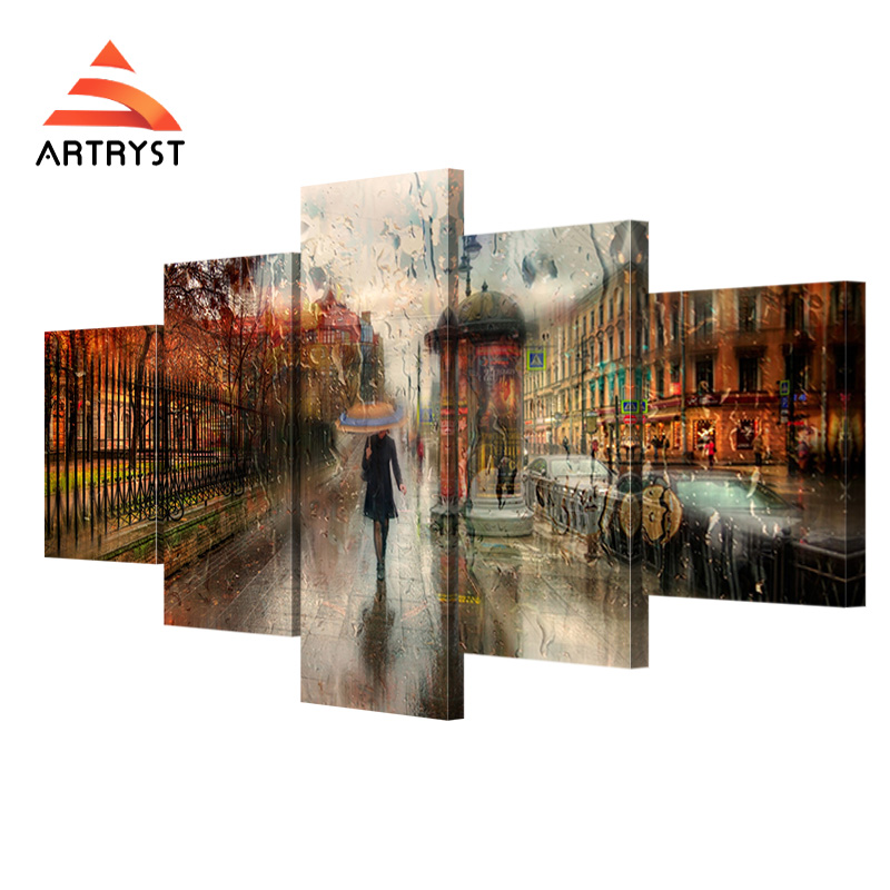 5 pcs No frame canvas art girl walking in the rain poster printed on - Home Decor
