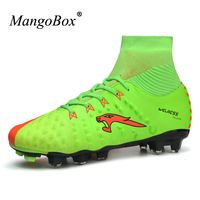 2017 New Teenager Adult Soccer Cleats Football Boots Studs Blue Green High Top Soccer Trainers High