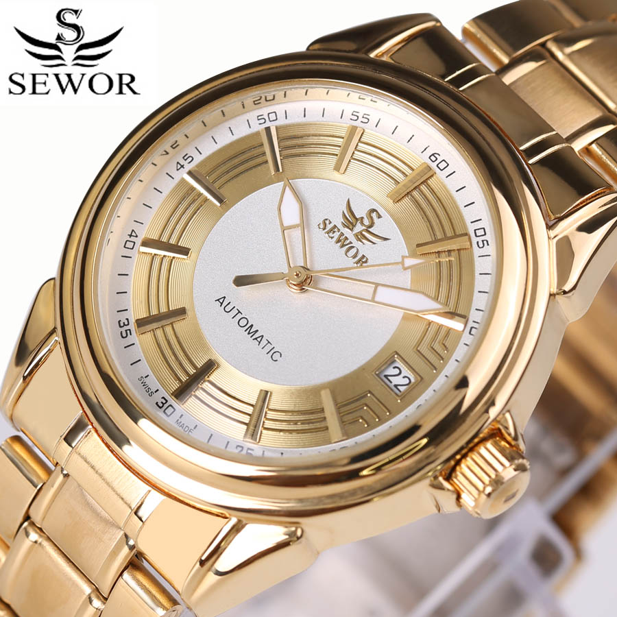 Luxury Full Gold Steel Mens Watches Top Brand Luminous Automatic Mechanical Watch Auto Date Waterproof Clock Men Relojes Hombre top brand luxury mens mechanical watches parnis 41mm full stainless steel automatic watch men rotating bezel luminous wristwatch