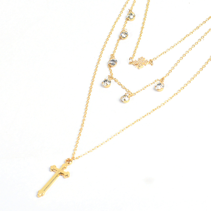 Gold Multi Layer Necklace In Crystal Pendant Necklaces For Women Eleglant Layered Chain Gold Color Cross Choker Necklace Fashion (3)