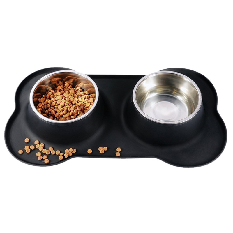 Steel Dog Bowl With Spill Skid Silicone Mat Feeder