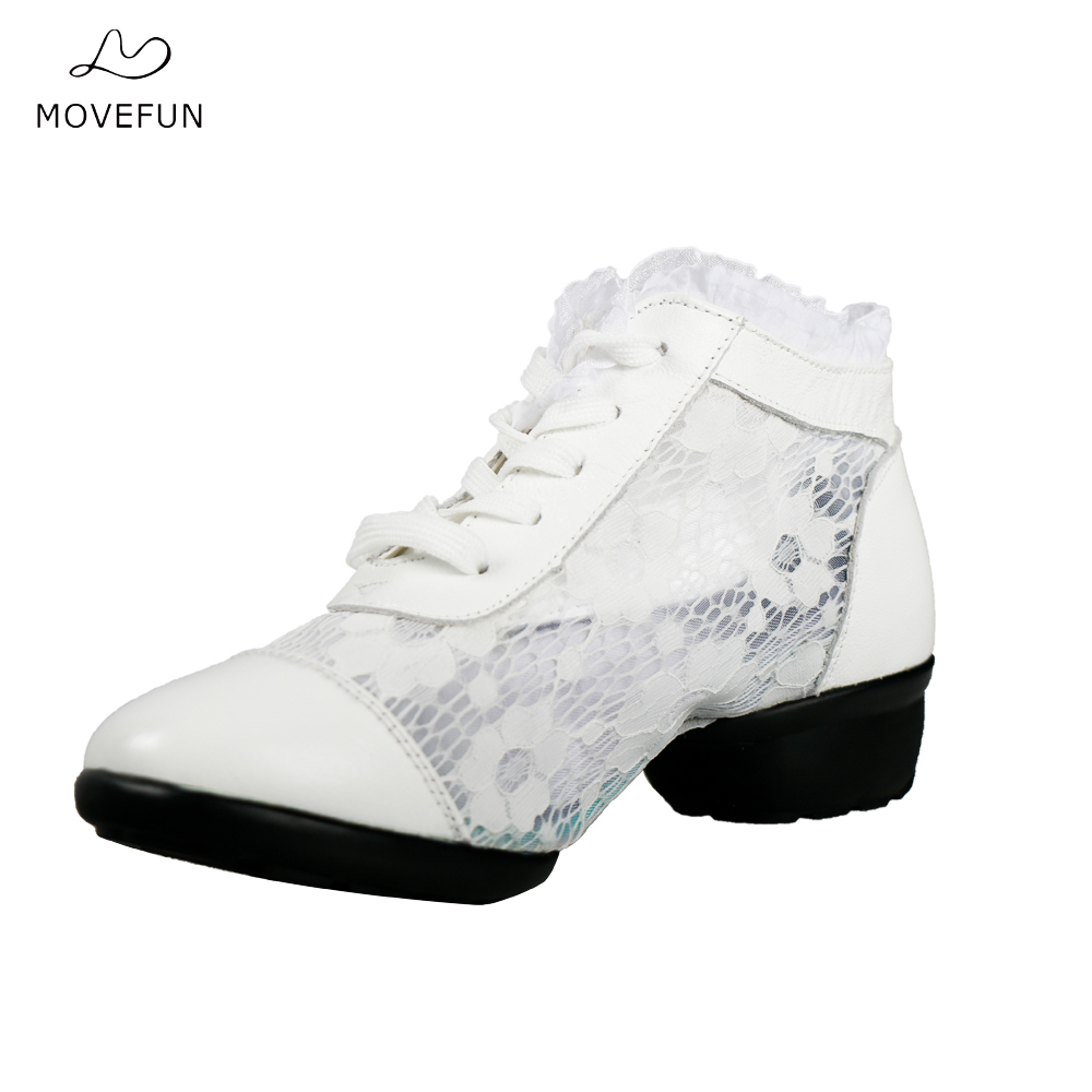New Summer Leather Lace Breath Fitness Dance Shoes Woman Girls Dancing Soft sole increase Jazz Shoes Dance Sneakers White Black цена